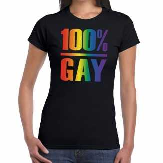 100 procent gay pride t shirt zwart dames