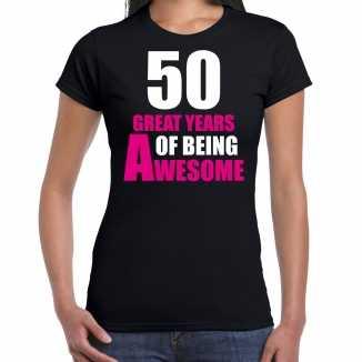 50 great years of being awesome sarah verjaardag cadeau t shirt zwart dames