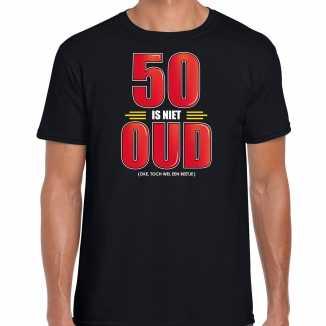 50 is niet oud verjaardag cadeau / abraham t shirt zwart heren