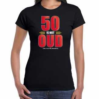 50 is niet oud verjaardag cadeau / sarah t shirt zwart dames