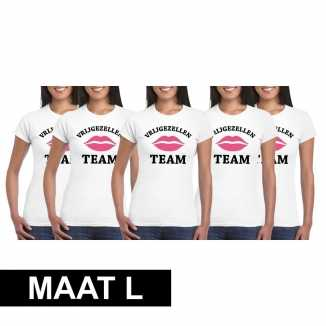 5x vrijgezellenfeest team t-shirt wit dames maat l