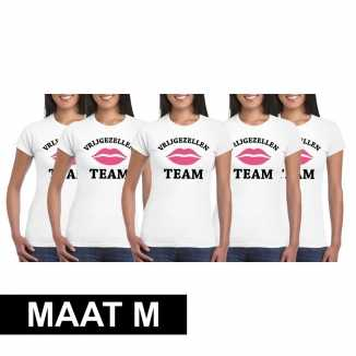 5x vrijgezellenfeest team t shirt wit dames maat m