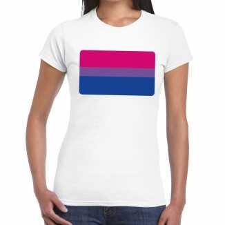 Bi vlag gay pride t shirt wit dames