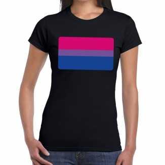 Bi vlag gay pride t shirt zwart dames