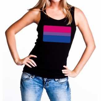 Bi vlag gay pride tanktop/mouwloos shirt zwart dames