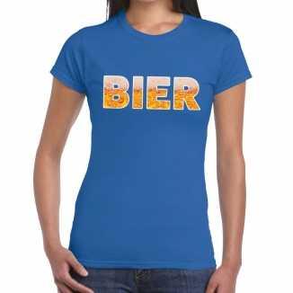 Bier tekst t shirt blauw dames