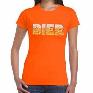 Bier tekst t shirt oranje dames