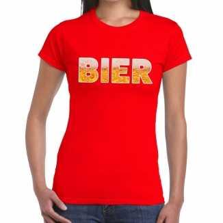 Bier tekst t shirt rood dames