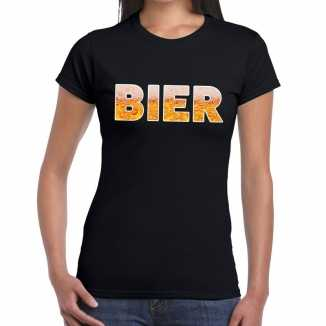 Bier tekst t shirt zwart dames