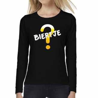 Biertje tekst t shirt long sleeve zwart dames