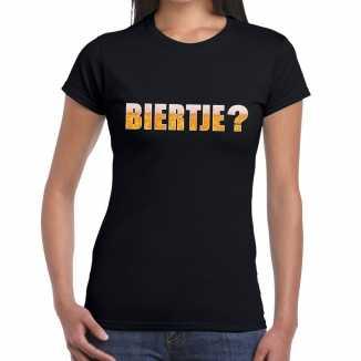 Biertje tekst t shirt zwart dames