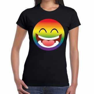 Big smiley/emoticon regenboog gay pride t shirt zwart dames