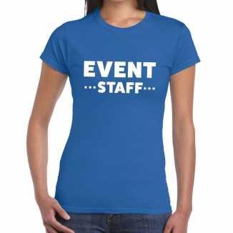 Blauw evenement shirt event staff bedrukking dames