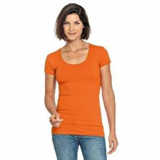 Bodyfit oranje dames shirt ronde hals