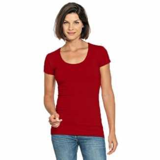 Bodyfit rood dames shirt ronde hals