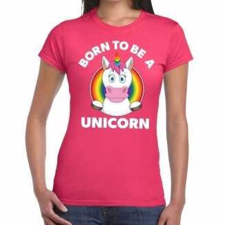 Born to be a unicorn gay pride t shirt roze dames