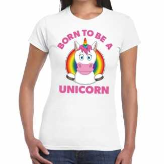 Born to be a unicorn gay pride t shirt wit dames
