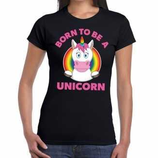 Born to be a unicorn gay pride t shirt zwart dames