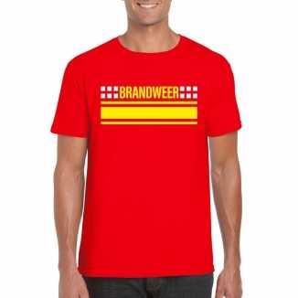 Brandweer logo t shirt rood heren