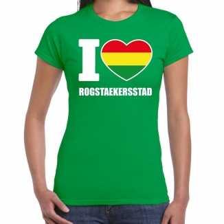Carnaval i love rogstaekersstad t shirt groen dames