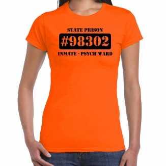 Carnavalskleding psych ward boeven / gevangenen shirt oranje dames