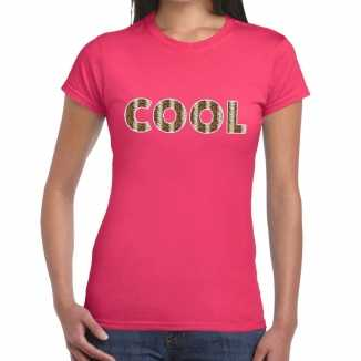 Cool tekst t shirt roze dames slangenprint