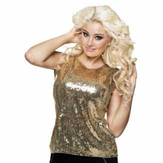 Dames shirt goud pailletten