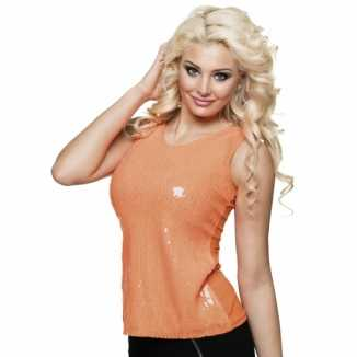 Dames shirt oranje pailletten