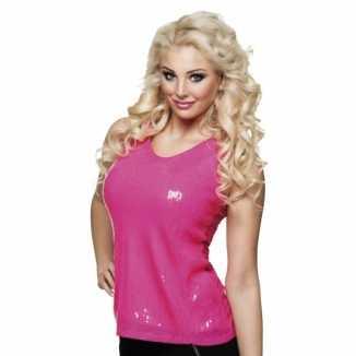Dames shirt roze pailletten