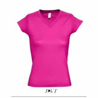 Dames shirts V-hals bodyfit fuchsia