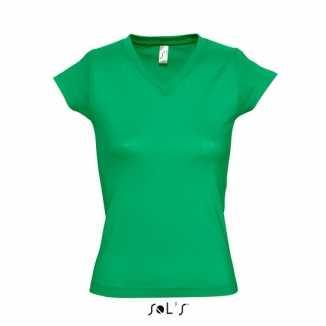 Dames shirts V-hals bodyfit grasgroen