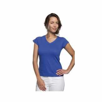 Dames shirts V-hals bodyfit kobalt blauw