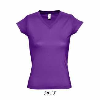 Dames shirts V-hals bodyfit paars