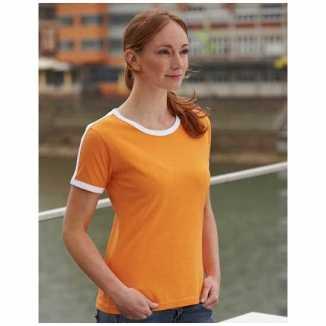Dames t-shirt oranje wit