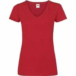 Dames t shirt v hals rood