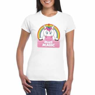 Dieren shirt wit miss magic de eenhoorn dames