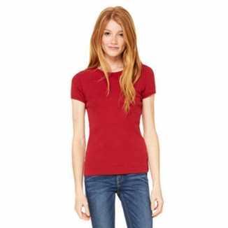 Donkerrood dames t-shirtjes Hanna ronde hals
