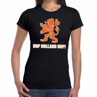 Ek / wk supporter t shirt hup holland hup zwart dames