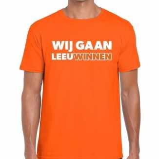 Ek / wk supporter t shirt wij gaan leeuwinnen oranje heren