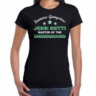 Famous gangsters john gotti tekst t shirt zwart dames