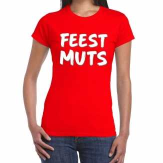 Feestmuts fun t shirt rood dames