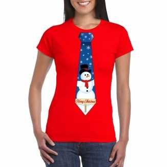 Fout kerst t shirt rood sneeuwpop stropdas dames
