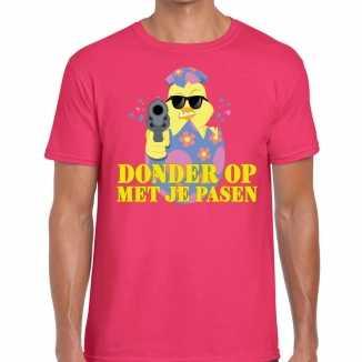 Fout paas t shirt roze donder op je pasen heren