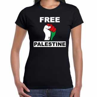 Free palestine t shirt zwart dames palestina shirt palestijnse vlag in vuist