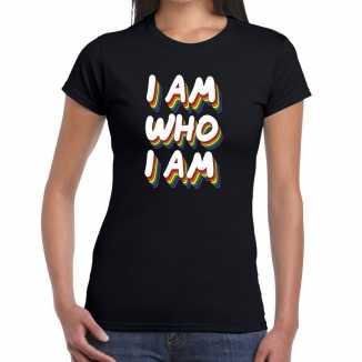 Gay pride i am who i am t shirt zwart dames