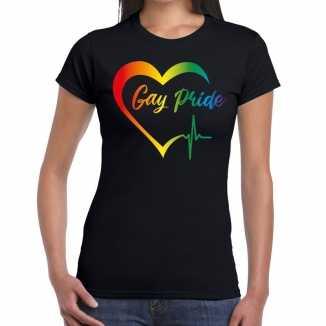 Gay pride regenboog hart t shirt zwart dames