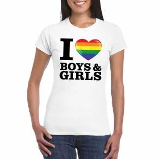 Gay pride shirt i love boys girls regenboog t-shirt wit dames