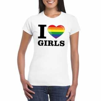 Gay pride shirt i love girls regenboog t-shirt wit dames