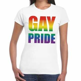 Gay pride t shirt wit dames