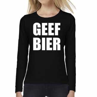 Geef bier tekst t shirt long sleeve zwart dames
